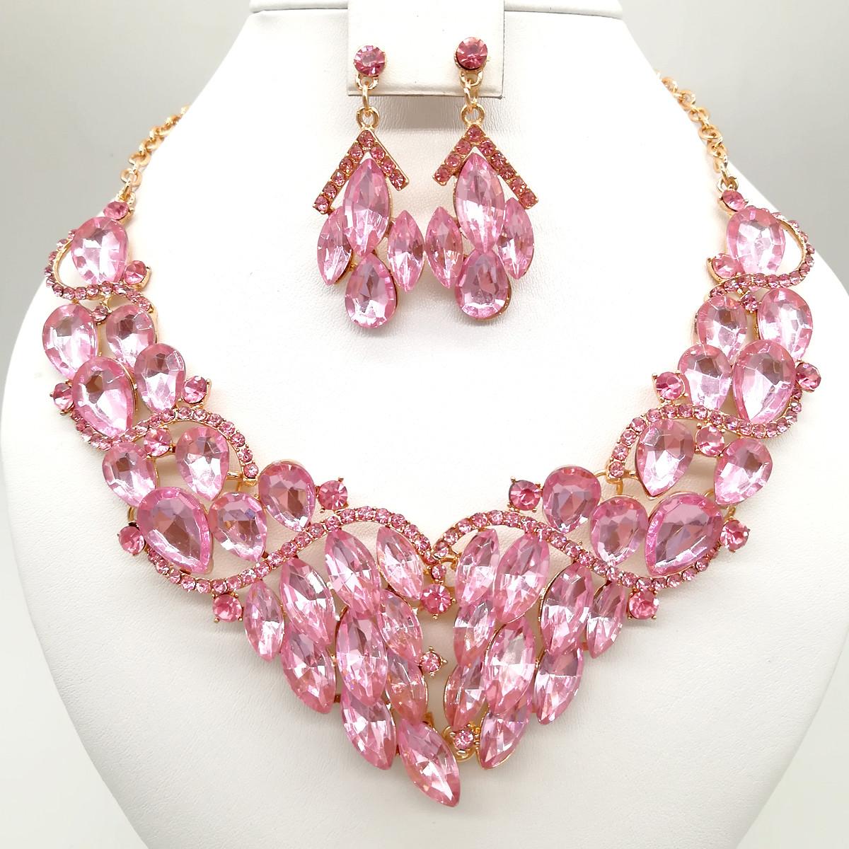 Комплект SONATA (Колье + серьги), нежно-розовые камни, 63071       (1)