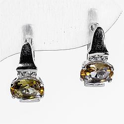 Серебряные серьги с султанитом диаспор, 1302СЛ