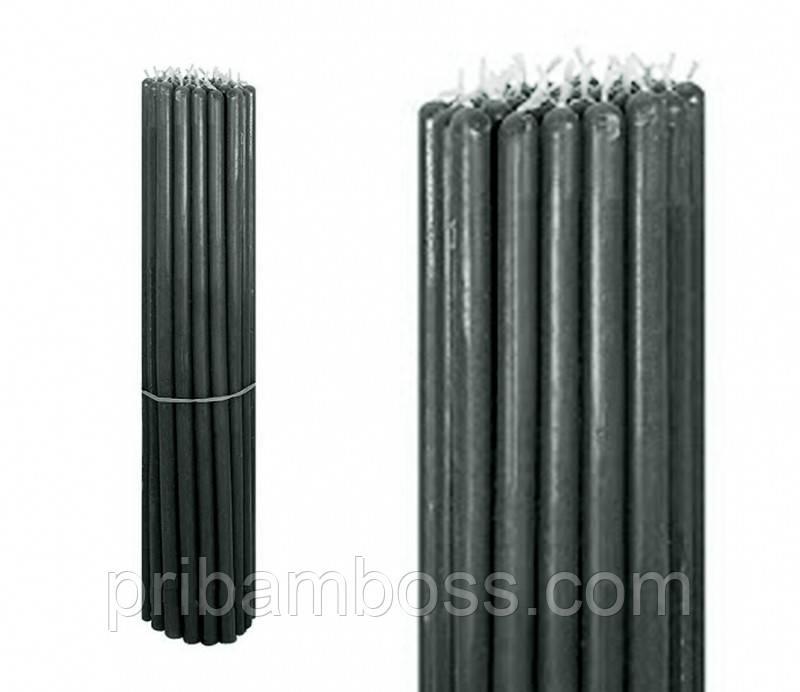 Свечи восковые пучек 1 кг. Чёрные 38см.