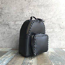 Рюкзак с шипами по контуру / эко-кожа (0573) Черный