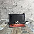 Сумочка в стиле Шане-ль Бой фактура крокодил / натуральная кожа (кт-977) Черный, фото 2