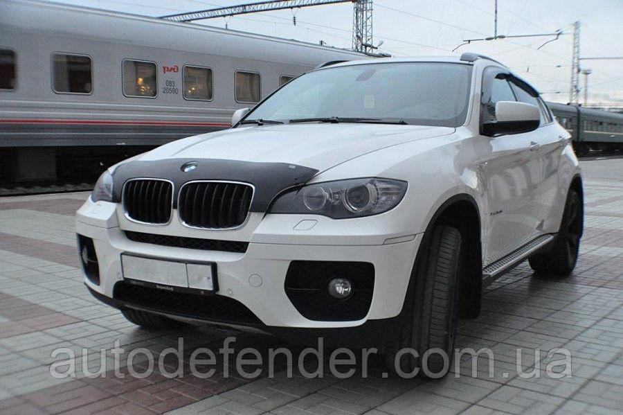 Дефлектор капота (Люкс!) мухобойка BMW X6 E71 2006-2013, SIM, SBMWX50712S
