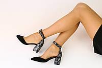 Женские черные босоножки на каблуке рептилия 36, 37, 40, 41 +video