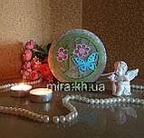 Соляной светильник круглый маленький Бабочка в цветах цветной, фото 2