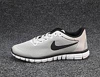 Кроссовки мужские  Nike Free Run 3.0 сетка светло-серые (найк фри ран)(р.42,43,44,45)