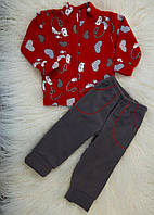 Дитячий костюм (штани і кофта на блискавці) з флісу для дівчаток (хлопчиків) OBABY (358-501)
