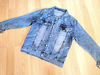 Модная джинсовая куртка для девочки, 128-146. Детская, подростковая джинсовая рубашка.