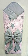"""Конверт на выписку демисезонный""""Серый с розовым, фото 1"""