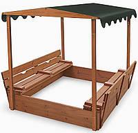 Детская песочница 1,45х1,45м с навесом и скамьями SportBaby (Песочница-4)