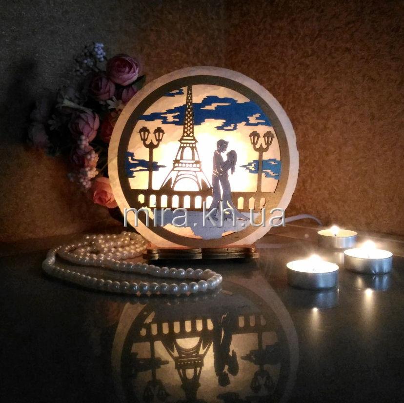 Соляной светильник круглый Эйфелева М+Ж цветной