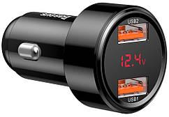 Автомобильное зарядное устройство BASEUS Dual QC digital display 45W