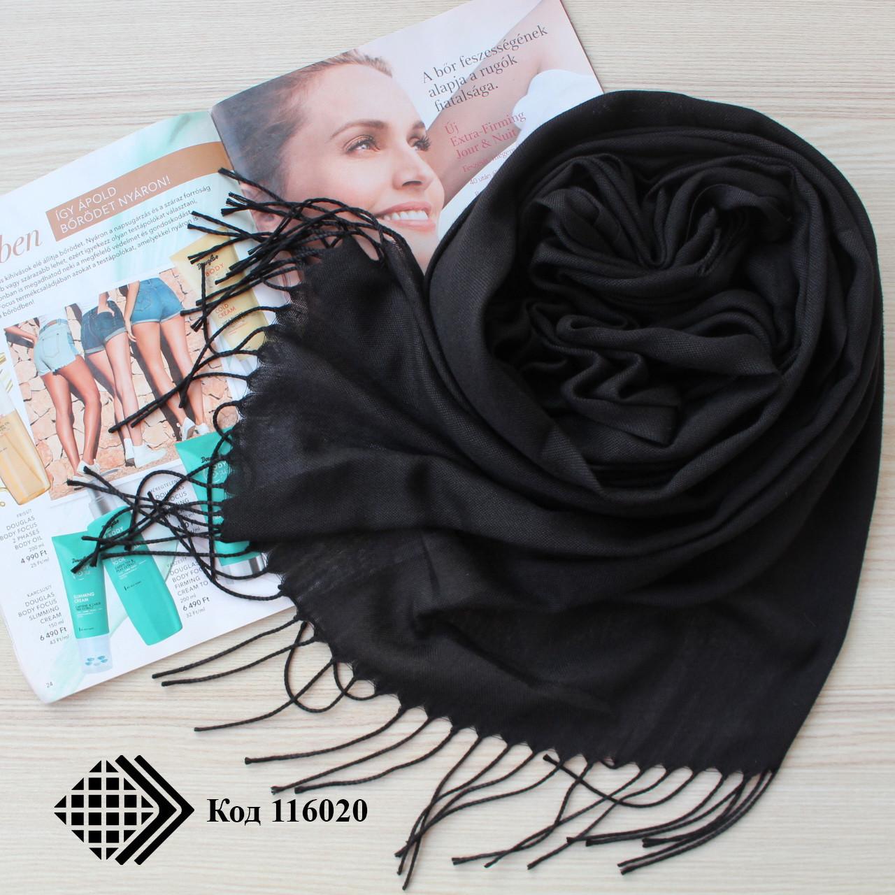 Турецкий черный шарф из тонкой пашмины 116020