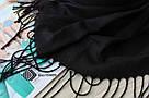 Турецкий черный шарф из тонкой пашмины 116020, фото 3