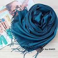 Турецкий бирюзовый шарф из тонкой пашмины 116025