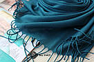 Турецкий бирюзовый шарф из тонкой пашмины 116025, фото 3