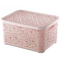 Корзина с крышкой узорчатая №3 440*330*230 Elif розовая
