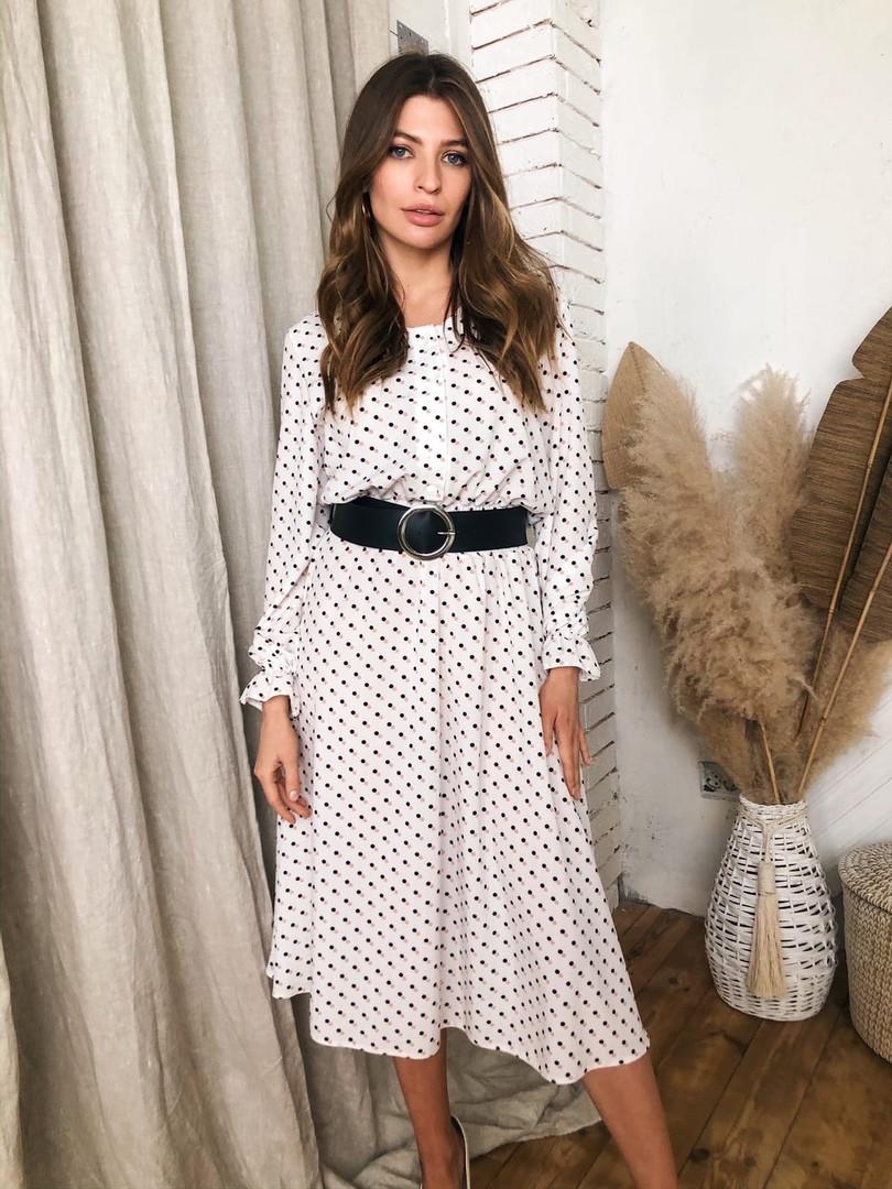 Женское стильное  платье-миди в горошек