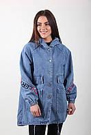 Женский джинсовый кардиган с капюшоном