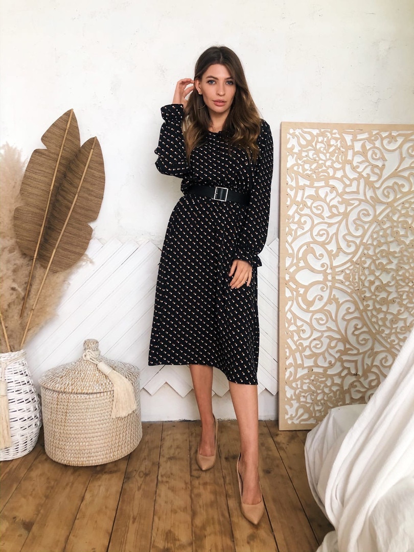 Женское модное черное платье-миди с принтом