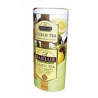 "Чай Базилур "" Цветы и фрукты Цейлона "" Зеленый чай+Цитрус 125 г ж/б"