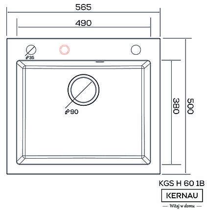 Кухонная мойка KERNAU KGS H 60 1B GRAPHITE, фото 2