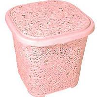Корзинка д/вещей с крышкой узорчатая 300*292*281мм розовая