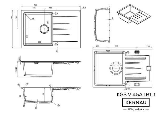 Кухонная мойка KERNAU KGS V 45A 1B1D BLACK METALLIC, фото 2