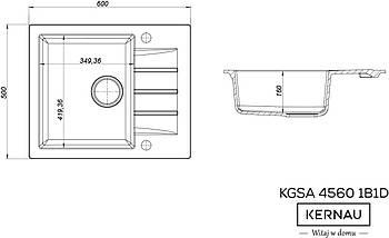 Кухонная мойка KERNAU KGS A 4560 1B1D GREY METALLIC, фото 2