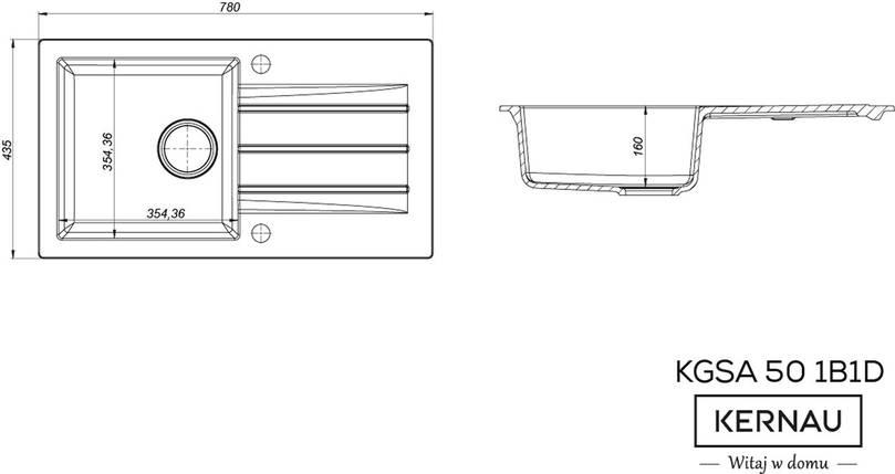 Кухонная мойка KERNAU KGS A 50 1B1D GRAPHITE, фото 2