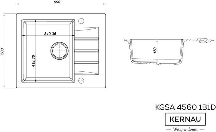 Кухонная мойка KERNAU KGS A 4560 1B1D BLACK METALLIC, фото 2