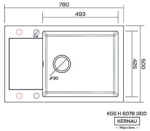 Кухонная мойка KERNAU KGS H 6078 1B1D BLACK METALLIC, фото 2