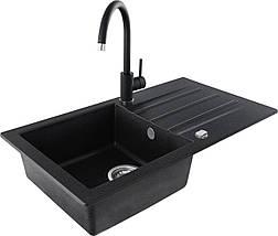 Кухонная мойка KERNAU KGS A 50 1B1D BLACK METALLIC, фото 2