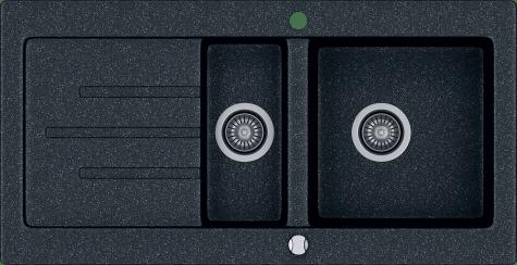 Кухонная мойка KERNAU KGS V 60 1,5B1D BLACK METALLIC, фото 2