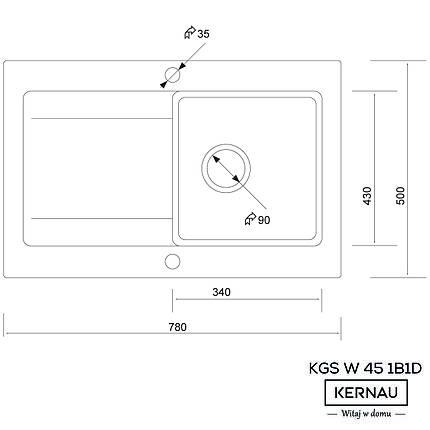 Кухонная мойка KERNAU KGS W 45 1B1D SAND, фото 2