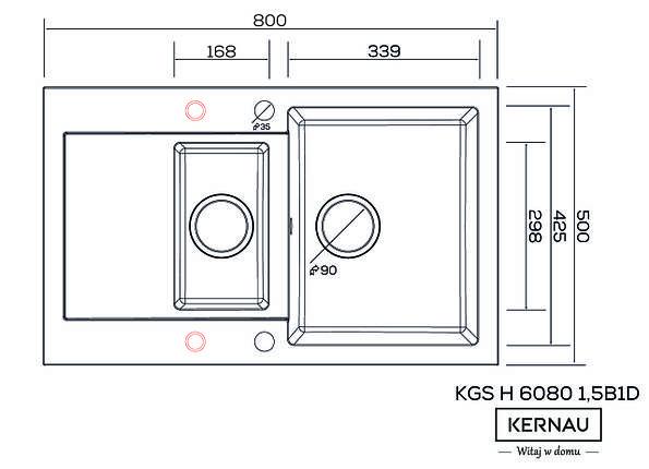 Кухонная мойка KERNAU KGS H 6080 1,5B1D GRAPHITE, фото 2