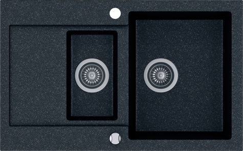 Кухонная мойка KERNAU KGS H 6080 1,5B1D BLACK METALLIC