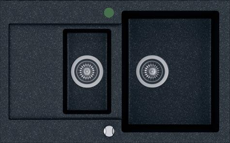 Кухонная мойка KERNAU KGS H 6080 1,5B1D BLACK METALLIC, фото 2