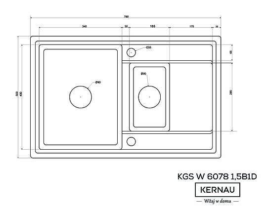 Кухонная мойка KERNAU KGS W 6078 1,5B1D BLACK METALLIC, фото 2