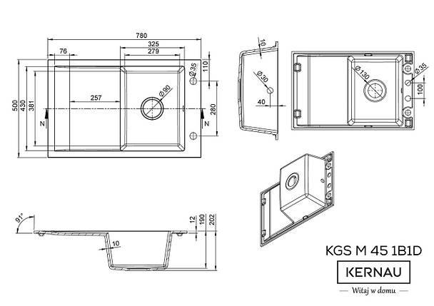 Кухонная мойка KERNAU KGS M 45 1B1D GRAPHITE, фото 2