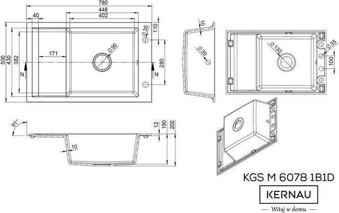 Кухонная мойка KERNAU KGS M 6078 1B1D BLACK METALLIC, фото 2