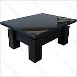 Стол-трансформер Optimus черное ЛДСП / черное стекло Lacobel, фото 2