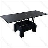 Стол-трансформер Optimus черное ЛДСП / черное стекло Lacobel, фото 3