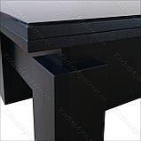 Стол-трансформер Optimus черное ЛДСП / черное стекло Lacobel, фото 5