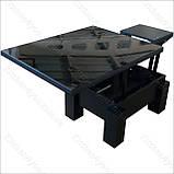 Стіл-трансформер Optimus чорне ЛДСП / чорне скло Lacobel, фото 4