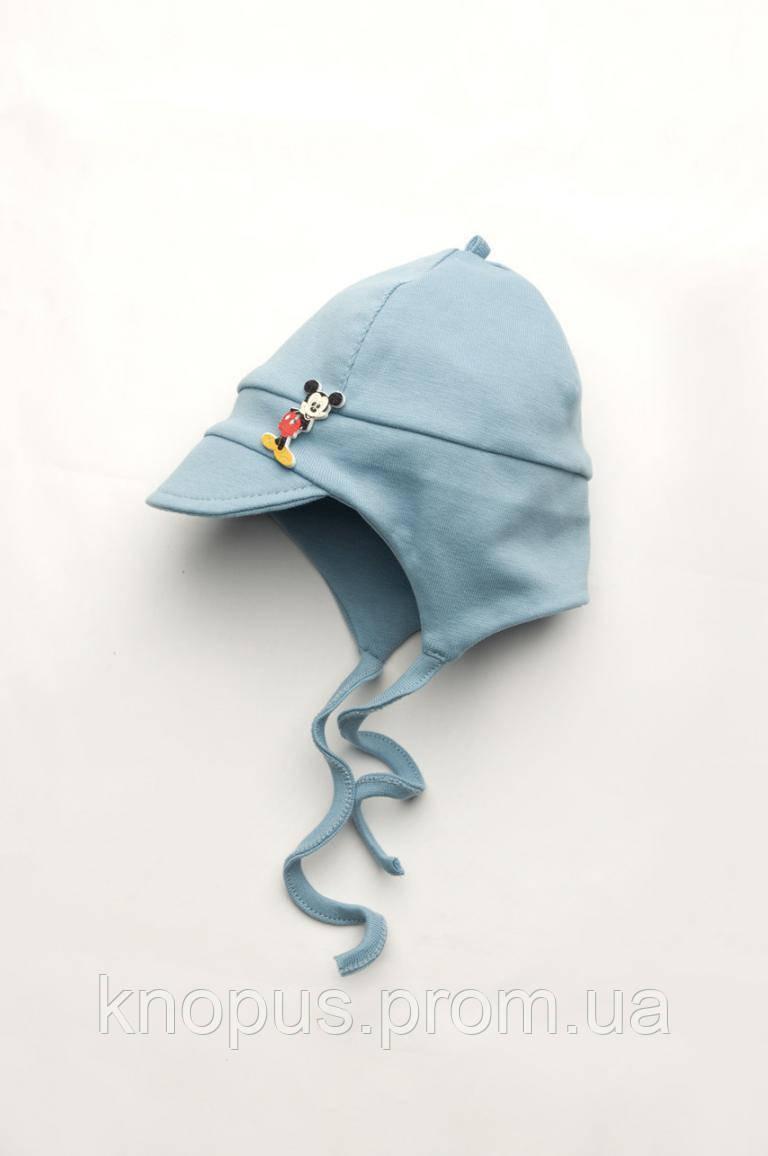 Шапка для новорожденного на хлопковой подкладке с козырьком, на завязках, Модный карапуз, размеры 38-44 см