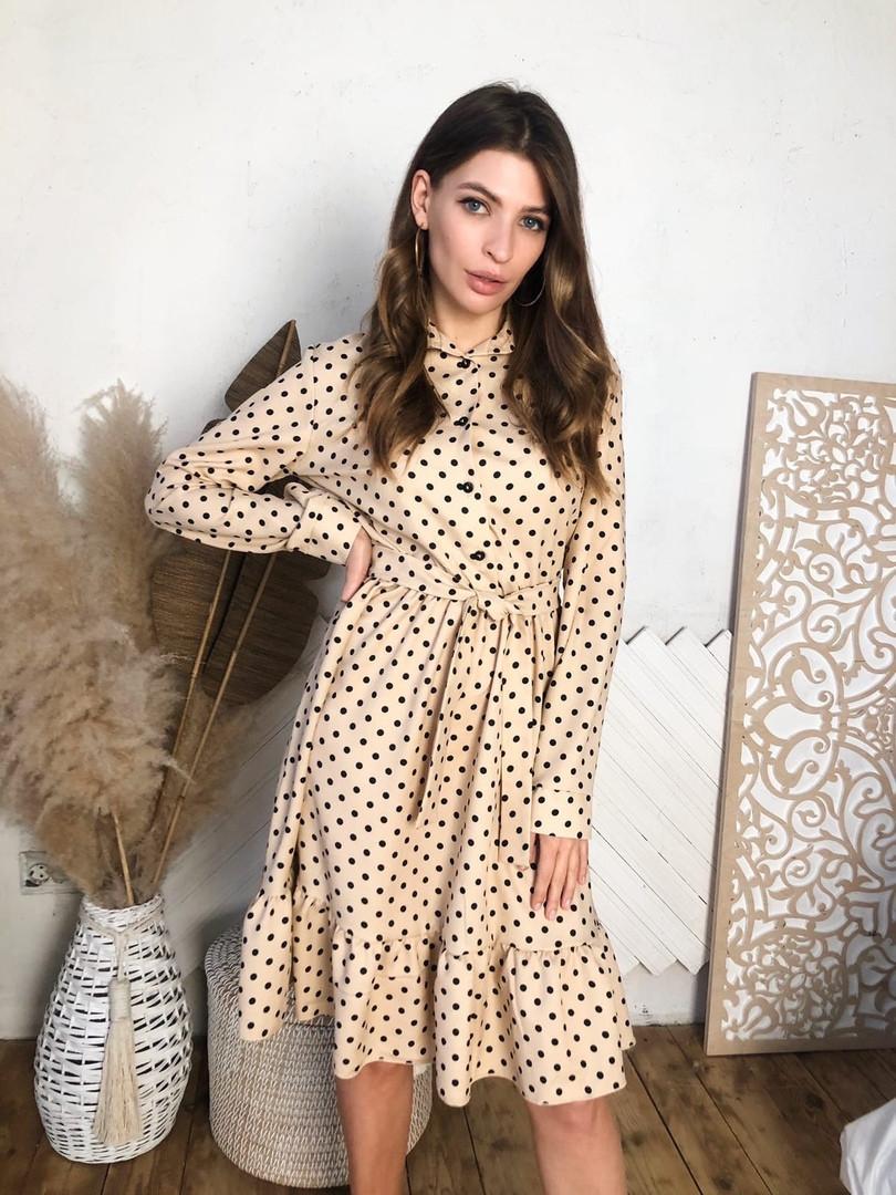 Женское красивое платье в горошек под пояс