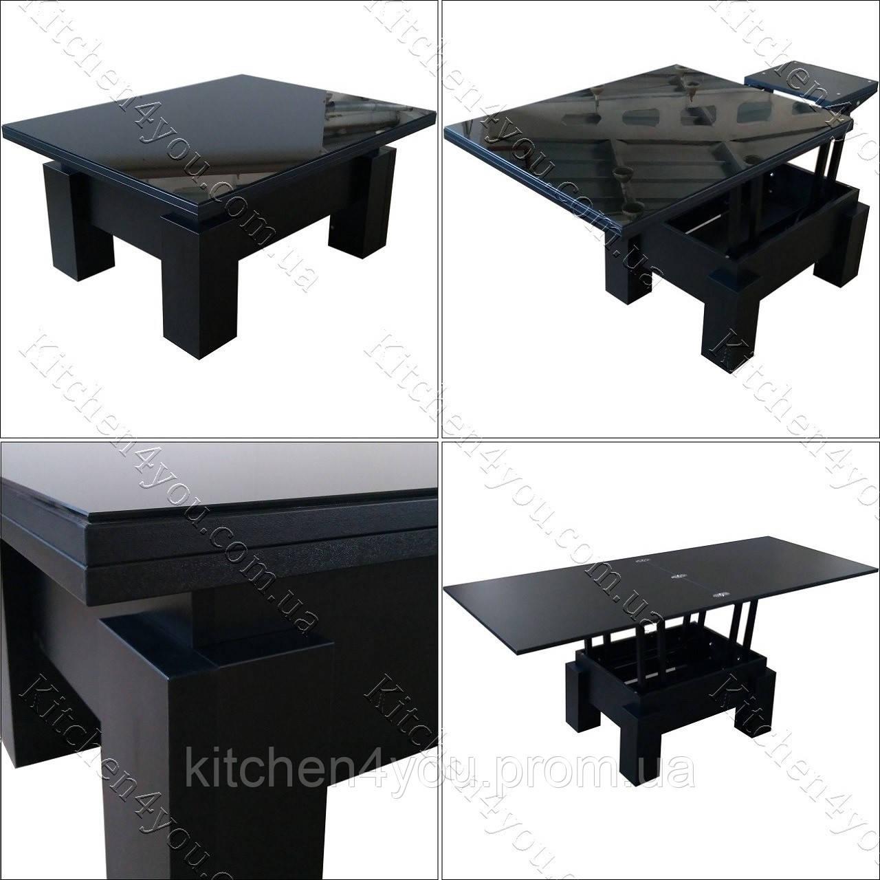 Стол-трансформер Optimus черное ЛДСП / черное стекло Lacobel