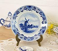 Настенная фарфоровая тарелка с мельницей, делфтский фарфор, Делфт, Delft, Голландия, фото 1