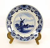 Настенная фарфоровая тарелка с мельницей, делфтский фарфор, Делфт, Delft, Голландия, фото 2