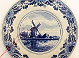 Настенная фарфоровая тарелка с мельницей, делфтский фарфор, Делфт, Delft, Голландия, фото 4